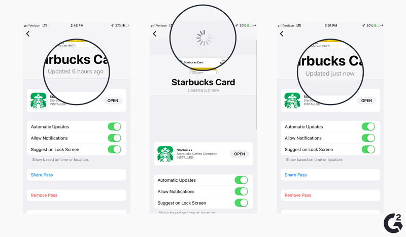 Screenshots of how to reload cards in Apple Wallet