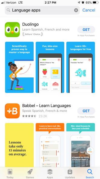 Babbel language educational app example