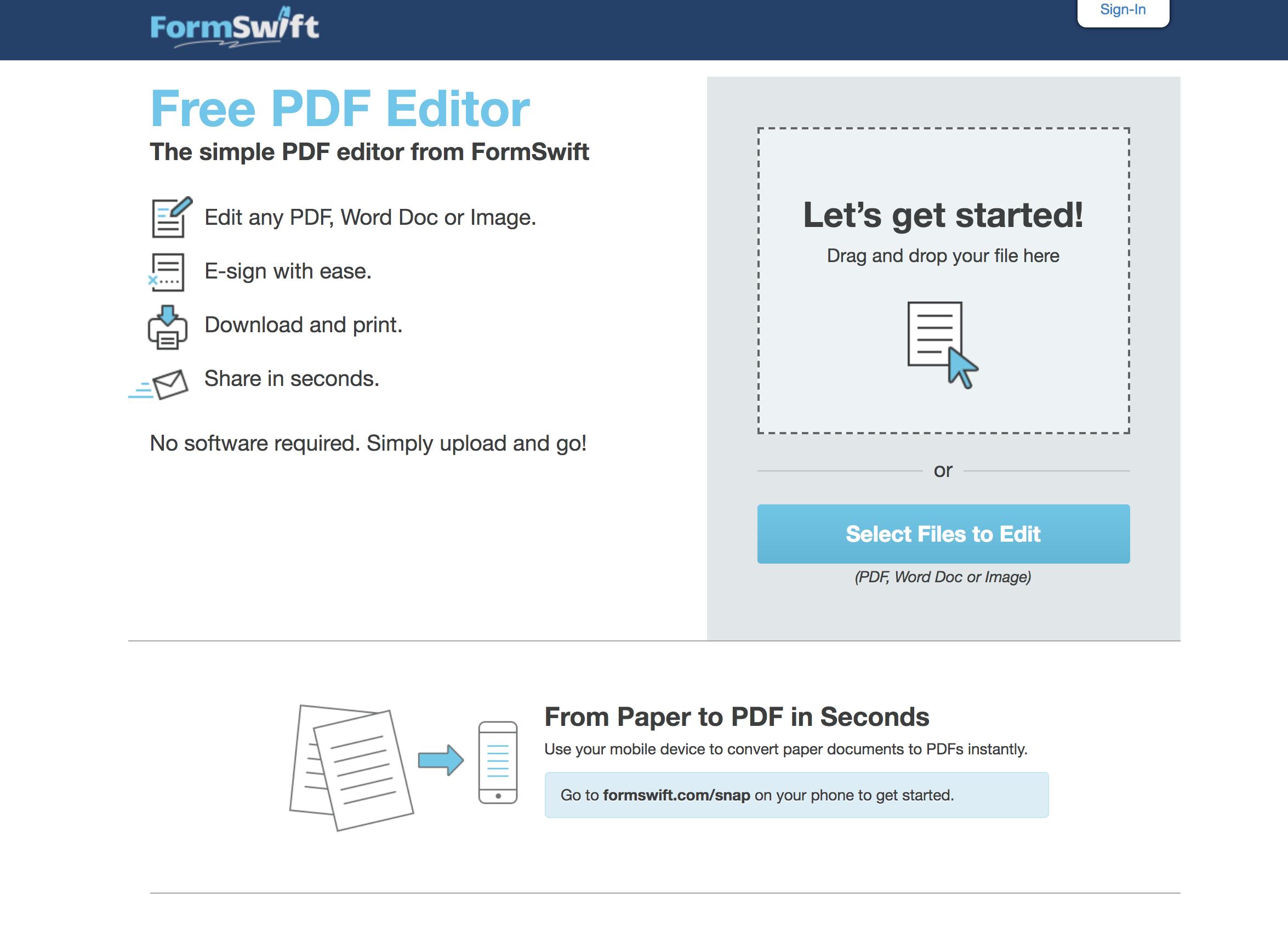 formswift best free pdf editor