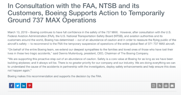 Boeing forced to ground all 737 MAX aircrafts press release