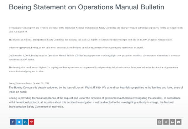 Boeing press release on Lion Air Flight 610