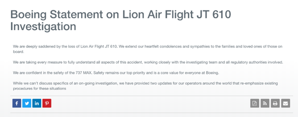 Boeing press release with empathy