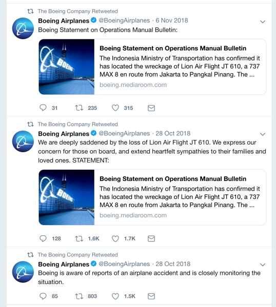Boeing tweets about Lion Air Flight 610
