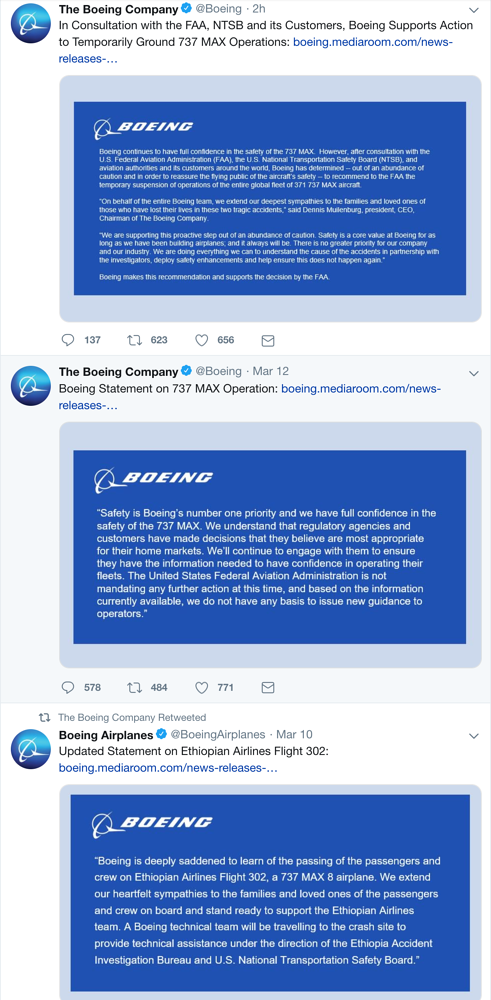 Boeing's tweets after second 737 Max crashes