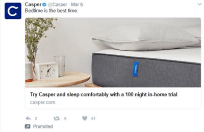 Casper clean bed tweet
