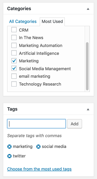 Categories and Tags in a WordPress Blog