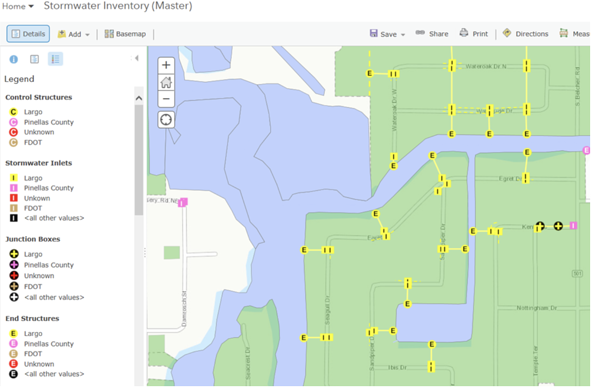 GIS map showing stormwater inventory assets in a city