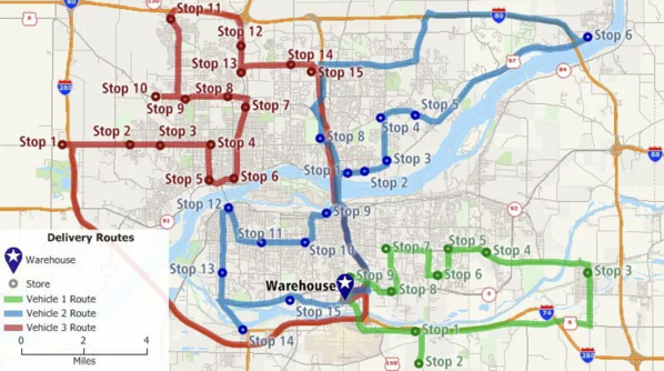 GIS map showing the most effective delivery routes fro a company