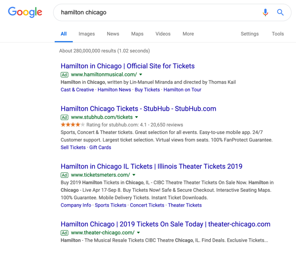 Example of PPC ads on the Google search results page