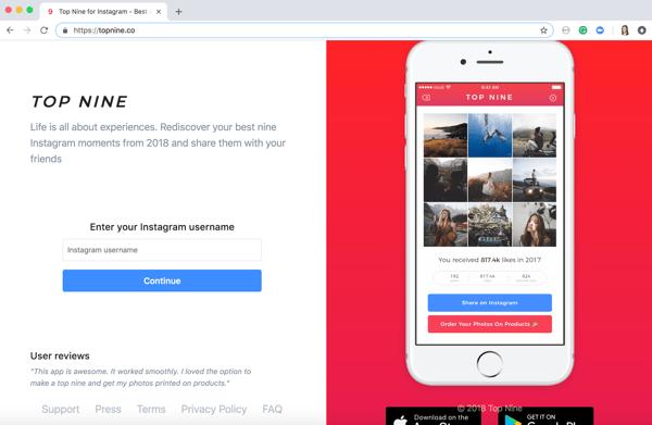 2018 Instagram Best Nine enter your Instagram username