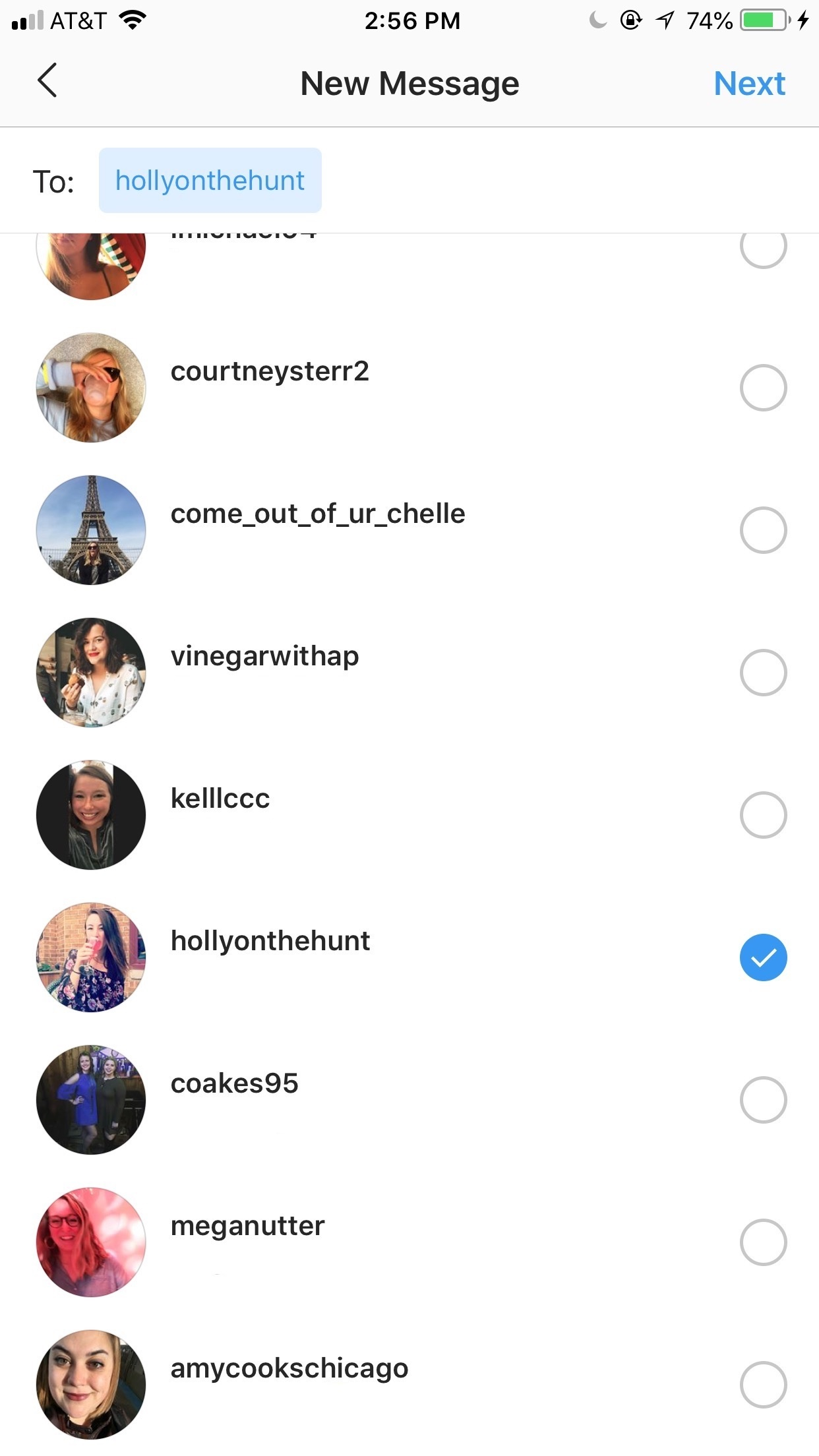 Instagram DM_select recipient