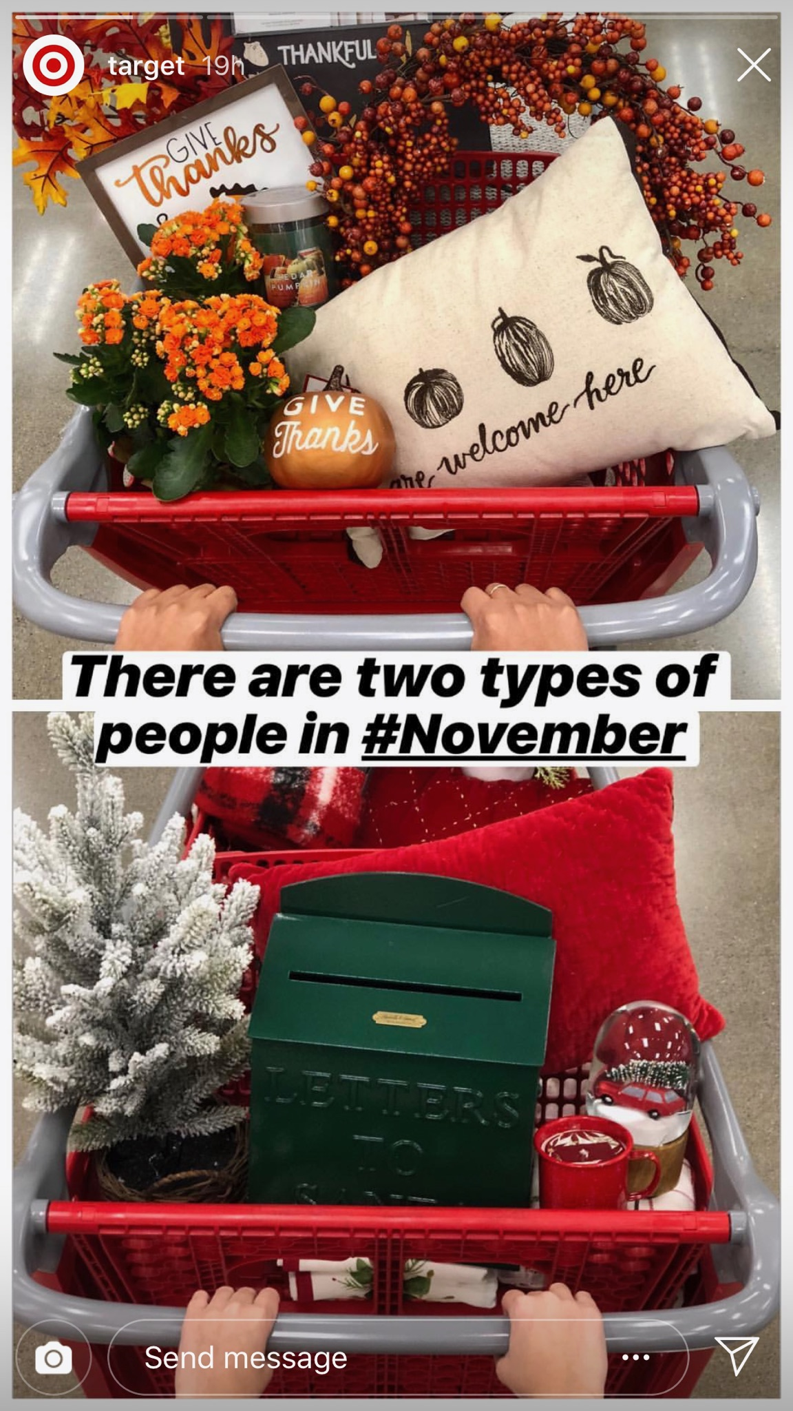 Holiday Instagram story from Target