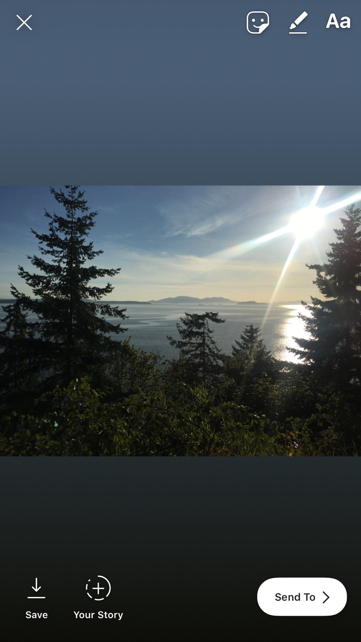 Instagram story of landscape image