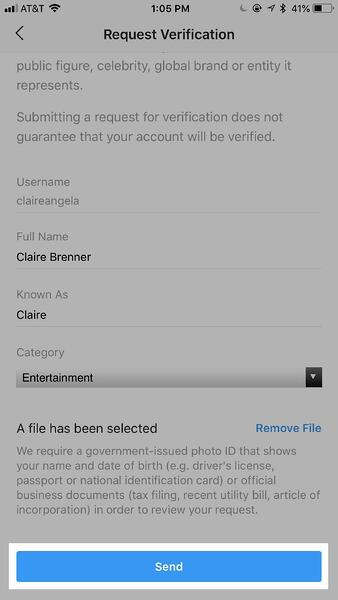 How to get a verified badge on Instagram step 5