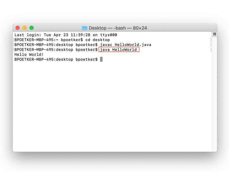 Exemple de sortie Java Hello World