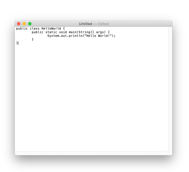 Java Hello World dans TextEdit