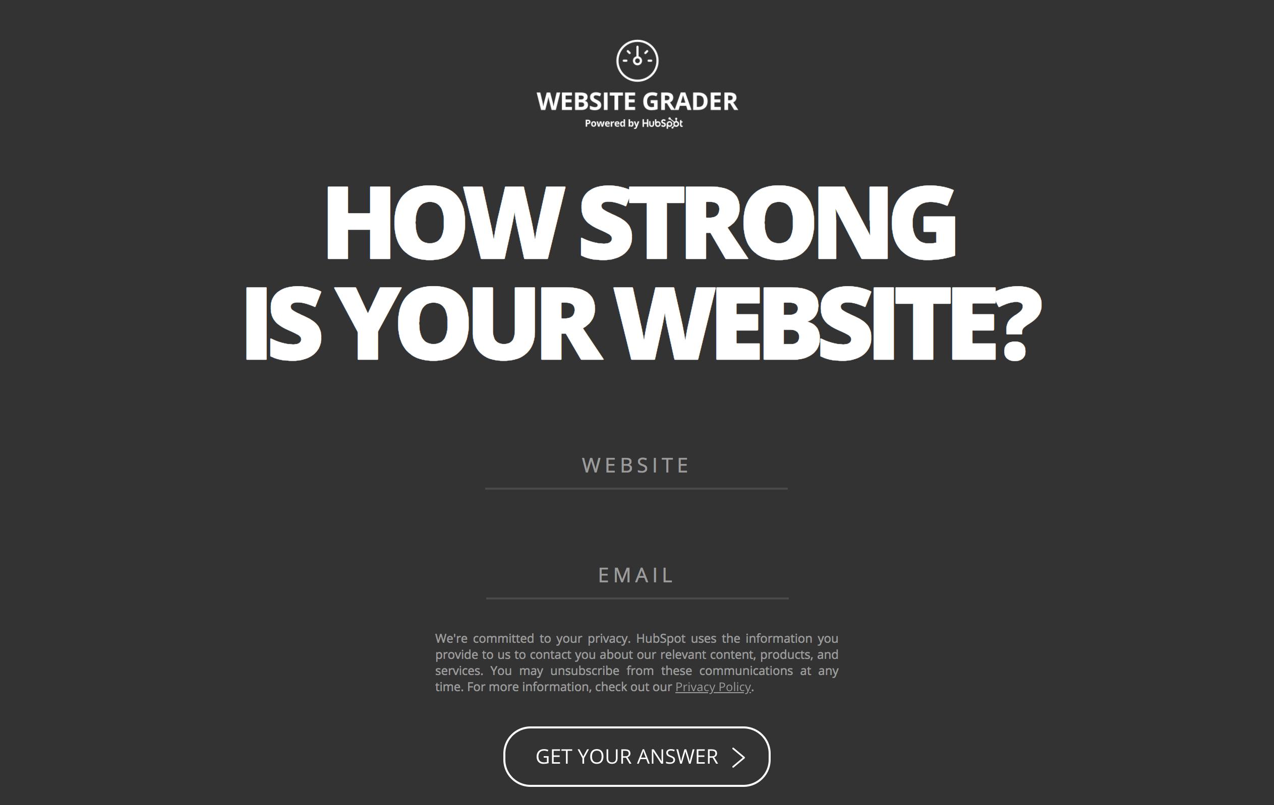 Free Tools - HubSpot's Website Grader