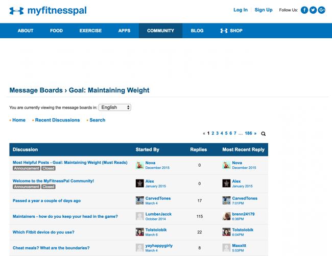 My FitnessPal app online community