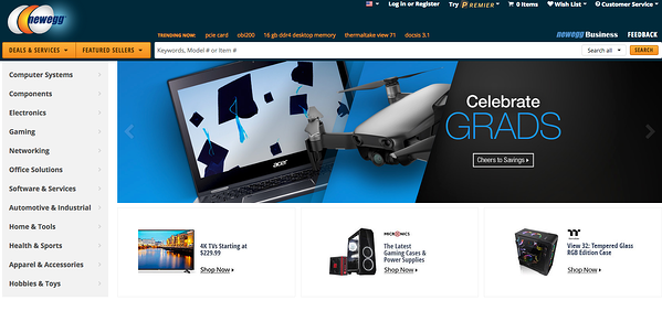 Newegg.com is a tech-focused online marketplace.
