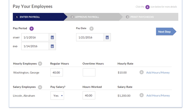 Payroll software being used to enter employee's hourly rates and time worked