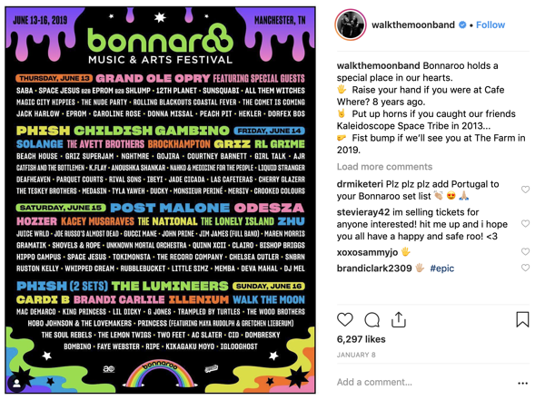 walk the moon bonnaroo social media post