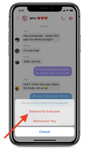 can you delete messages on facebook messenger