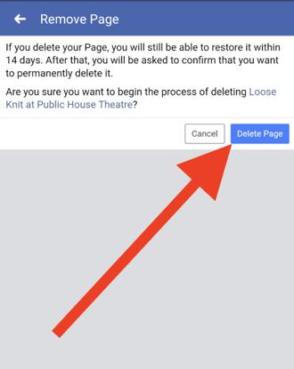 delete-facebook-page-on-app