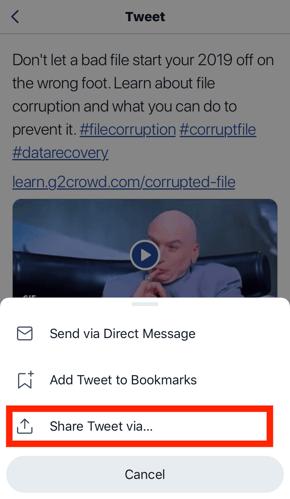 select share tweet via...