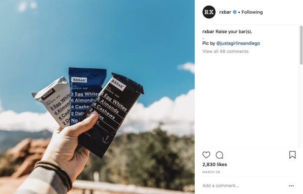 RXBar Instagram audience engagement
