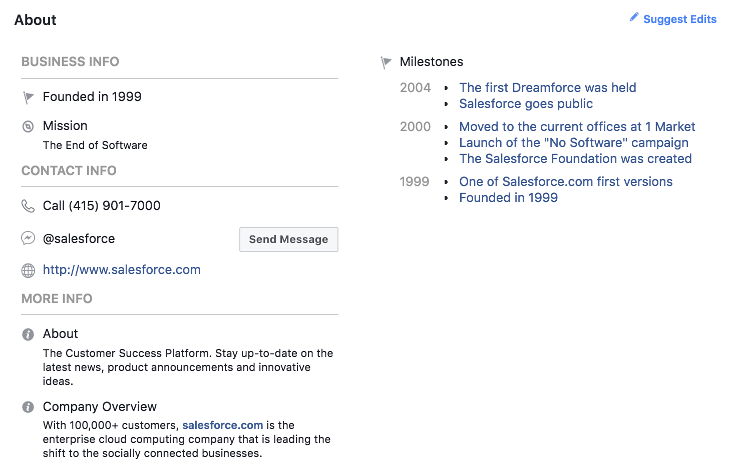 Salesforce about section