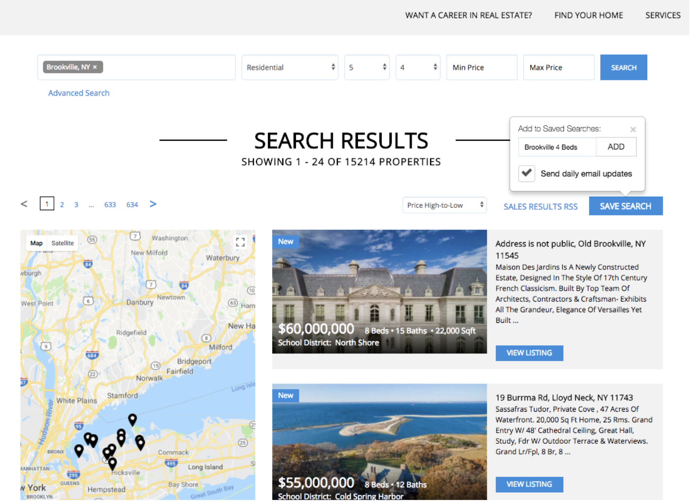 Example of search results on a multiple listing service