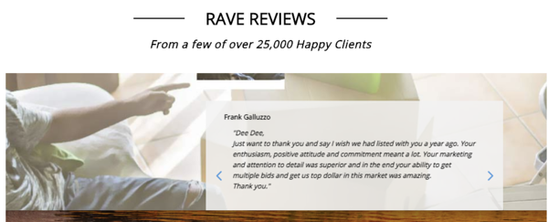 Reviews trust section of realtor website