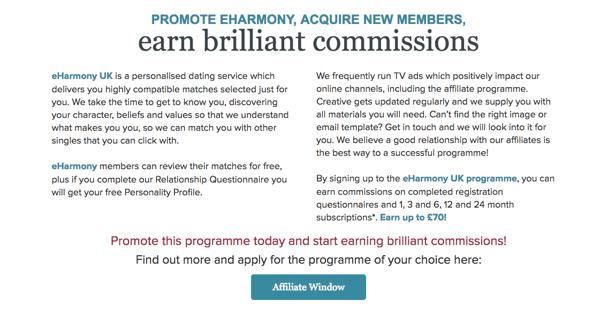 eHarmony affiliate marketing