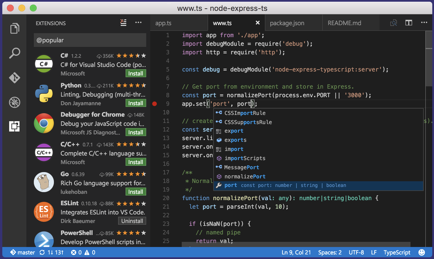 Visual Studio Code free text editor