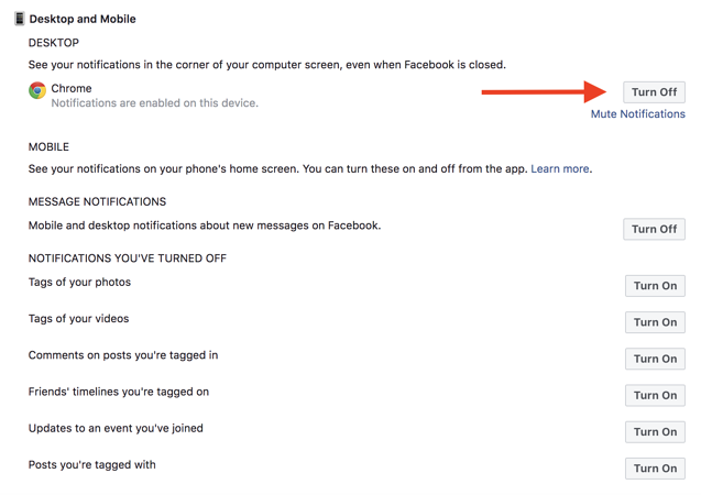 how to disable notifications on facebook