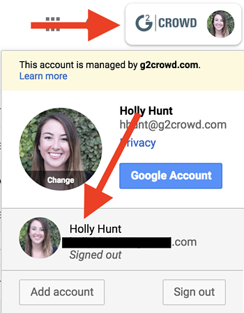how to set a new default google account
