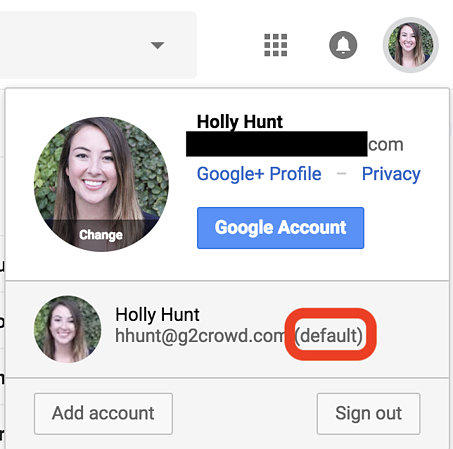 how to set a default account on google