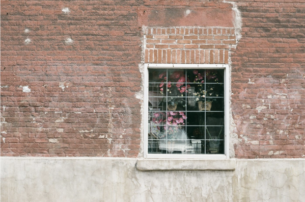 Magdelaine stock photo brick wall with glass window and flowers