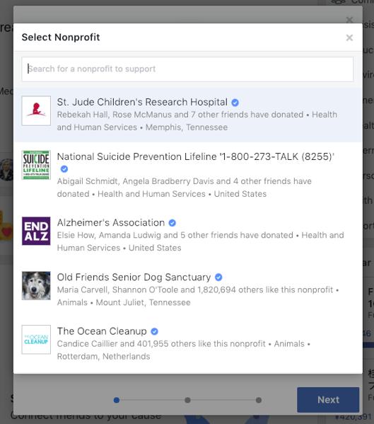select nonprofit Facebook fundraiser