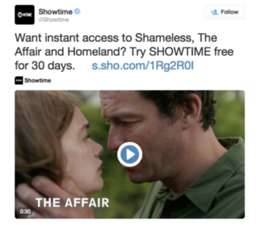 Showtime offer tweet