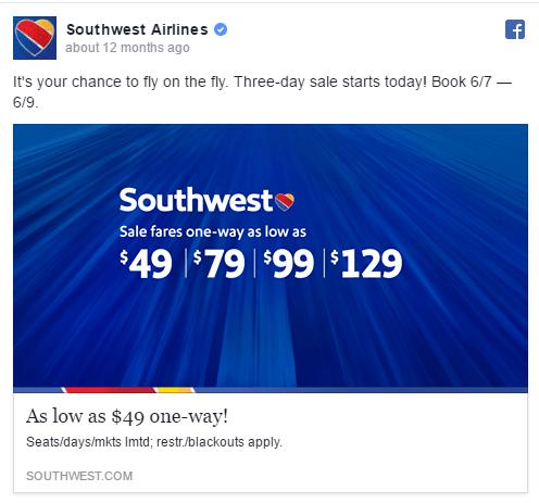 Southwest facebook ad