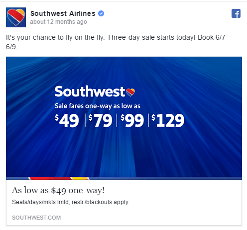Southwest facebook ad