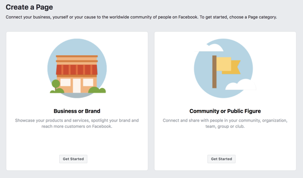 Selecting a Facebook business page clasification