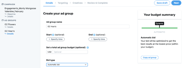 Step 3 Twitter ad groups