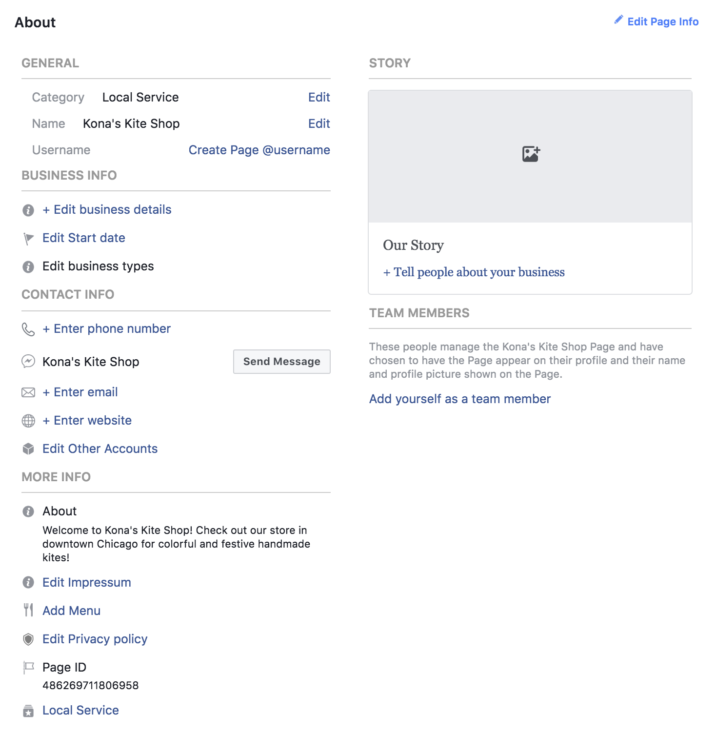 Adding information on Facebook business page