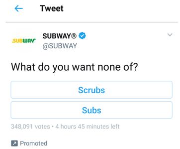 Subway funny tweet