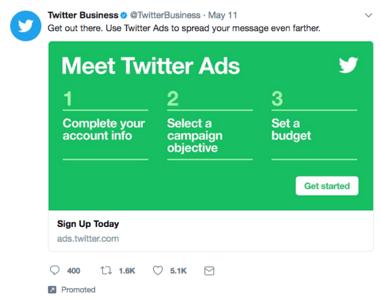 Twitter for business explainer tweet
