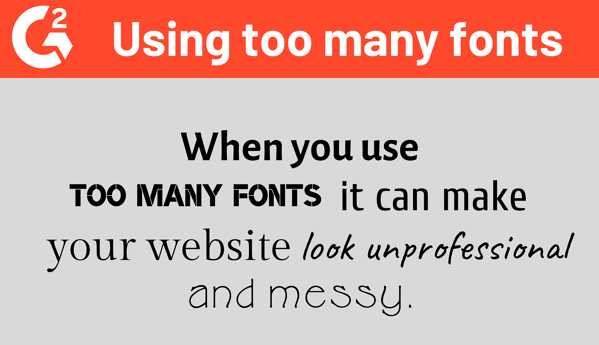 Overuse of Typography on a Website
