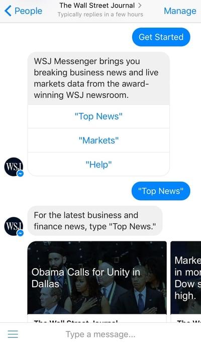facebook chatbots voorbeelden