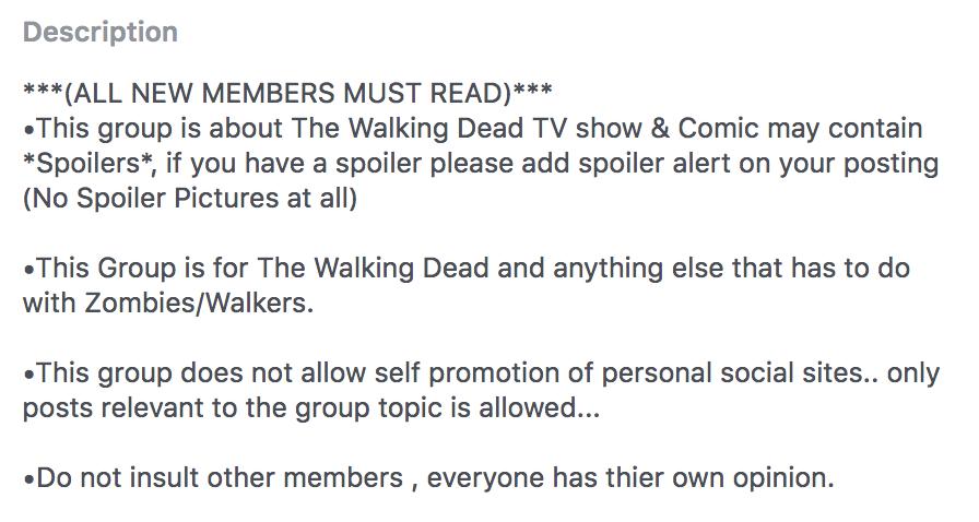 Walking Dead facebook group